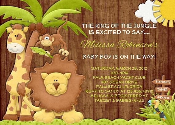 Rustic Jungle Boy Baby Shower Invitation - Wood Lion Giraffe Monkey Printable Invite