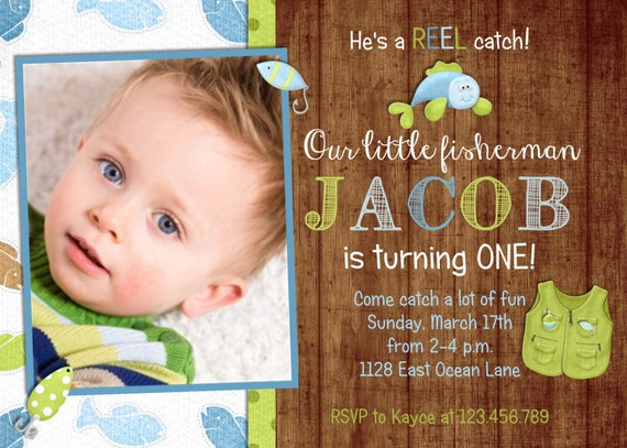 Rustic Wood Fishing Boy Birthday Invitation - Fish and Tackle - Custom and Printable Invite