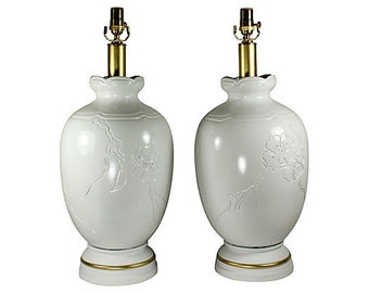 White & Gold Ginger Jar Lamps, Pair