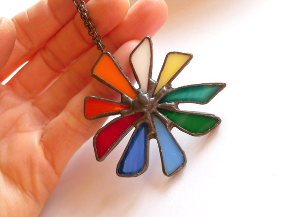 Stained glass pendant, contemporary jewelry, colorful pendant, rainbow jewelry, statement necklace, artistic, funky, Big bang