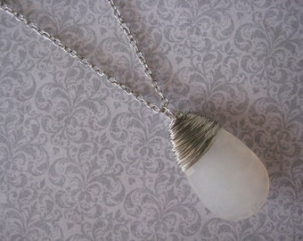 Faceted Metal Wrapped Milk Charm Necklace