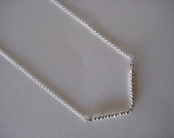 Open Angle Geometric Beaded Simple Silver Necklace
