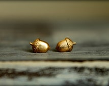 Tiny Acorn Earring Studs in Raw Brass, Stainless Steel Posts
