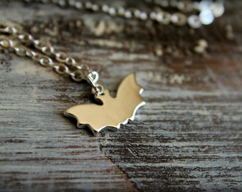 Bat Necklace, Available in Silver and Gold