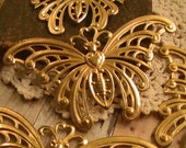 Large Butterfly Raw Brass Stampings Raw Brass Commercial Jewelry Suplies Mix Media Collage Assemblage Jewelry Altered Art (1pc)