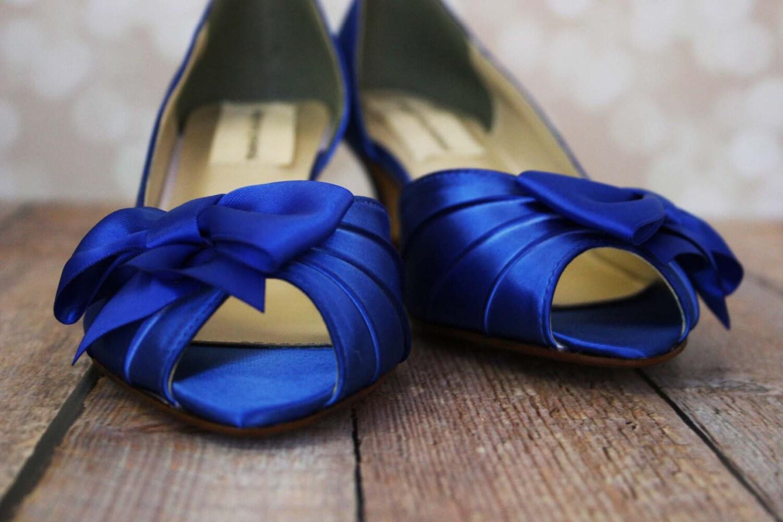 Royal Blue Wedding Heels: Royal Blue Wedding Shoes With Bow / Custom Wedding Shoes