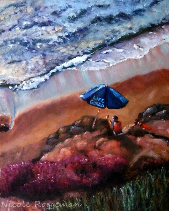 Studio Clearance SALE, Life Guard, beach art sale, California, seascape, pacific ocean, umbrella, La Jolla original oil painting,coastal art