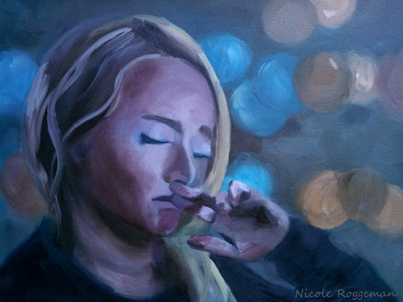 Hayden Panettiere portrait from Nashville, emotional art, pensive, figurative, woman, sad, beautiful girl, crying, oil painting