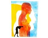 pop art, painting, original mixed media, street art, head silhouette, original paintings