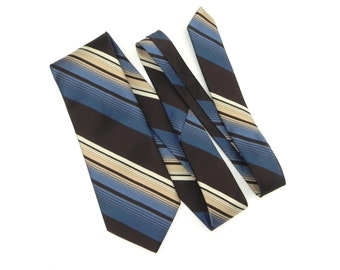 Marquis Designs Francais Mens Necktie, 100% Imported Polyester Tie, Brown, Blue and Cream 1970 Necktie