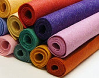 "9"" x 12"" -Pick 24 Wool Felt Blend Sheets- you choose colors"