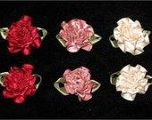 Handmade Set of 6 Victorian Satin Ribbon Roses for Sewing, Holiday Projects, Crafting, Mixed Media, ECS, FREE Shipping