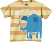 Personalized Elephant T-Shirt, Boy's Orange Striped Blue Elephant Blowing Bubbles Shirt, Childrens Clothing