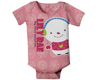 Snowman Baby Bodysuit, Personalized Girls First Christmas Onepiece, Holiday Clothing