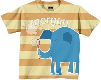 Personalized Elephant T-Shirt, Boy's Orange Striped Blue Elephant Blowing Bubbles Shirt, Childrens Clothing