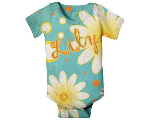 Personalized Baby Bodysuit Aqua Daisy, Custom Girl's Snapsuit