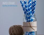 25 White Polka Dots on Royal Blue Paper Straws - Standard 7.75'' / 19.68cm PANTONE 300