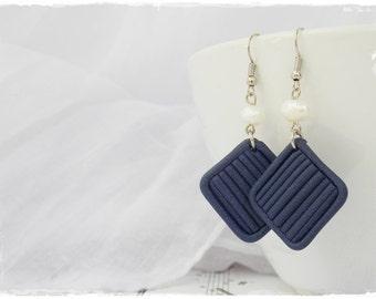 Long Nautical Earrings, Blue Pearl Earrings, Square Geometric Earrings, Modern Jewels, Polymer Clay Earrings, Nautical Wedding Earrings