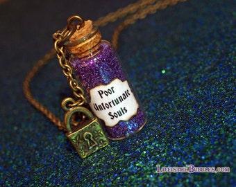 Ursula Poor Unfortunate Souls Necklace with a Lock Charm, Disney Villain, Little Mermaid, Bottle Necklace Disney Bounding, Ursula Cosplay