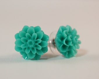 Turquoise dahlia earrings - teal flowers on titanium studs - NICKEL FREE for sensitive ears