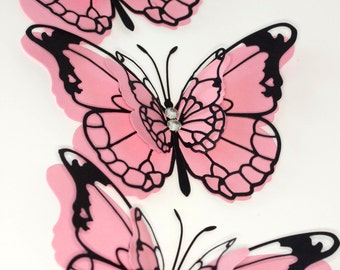 Set of 5 large pink and black four layers butterflies  embellished with two rhinestones any occasion wedding