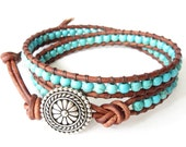Turquoise leather wrap bracelet southwestern style, native american inspired bead jewellery, gift for best friend