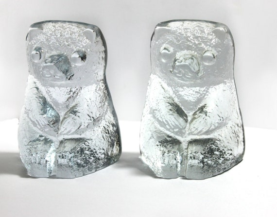 Blenko clear glass bear Bookends- pair of bears in the ice floe pattern