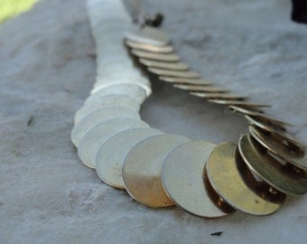 Vintage Metal Panel Choker Necklace