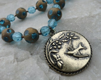 Sky Blue and Gold Beaded Necklace