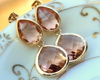Blush Champagne Earrings Peach Gold Two Tier Teardrop Studs Posts - Blush Earrings Bridesmaid Jewelry Peach Wedding Earrings Wedding Jewelr