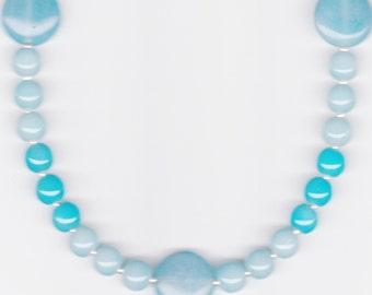 Handmade Jewelry, Bead Necklace, Blue Sappire Necklace, Aqua Jewelry, Jade Jewelry, Aqua Blue Beaded Necklace, Jade Stone Necklace, Beadwork