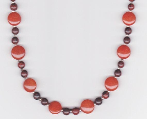 Orange Jade Beaded Necklace, Beadwork
