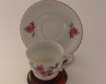 Vintage Demitasse Cup And Saucer Made in Japan Apple Blossoms