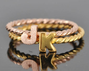 initial ring, gold plated, alphabet ring, letter ring,personalized ring, bridesmaid gift,monogram ring,stacking ring,name