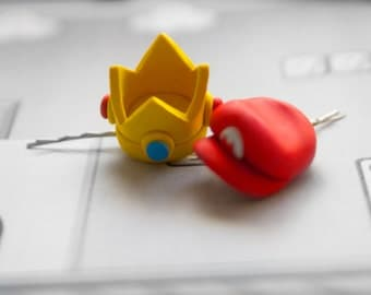 Bobby pin Princess Peach Crown or Mario Hat