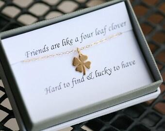 Four leaf clover necklace,shamrock necklace, Gold shamrock,Best friend gift,graduation gift,sisterhood,birthday gift