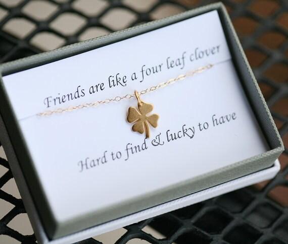Four Leaf Clover Necklaceshamrock Necklace Gold