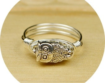 Owl Ring- Sterling Silver Filled Wire Wrapped Ring with Silver Tone Owl Bead - Any Size- Size 4, 5, 6, 7, 8, 9, 10, 11, 12, 13, 14