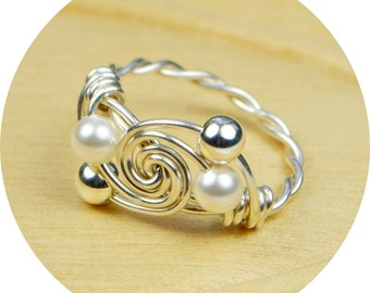 Pearl Swirl Ring- Sterling Silver Filled Wire Wrapped White Swarovski Pearl Ring- Any Size-  Size 4, 5, 6, 7, 8, 9, 10, 11, 12, 13, 14