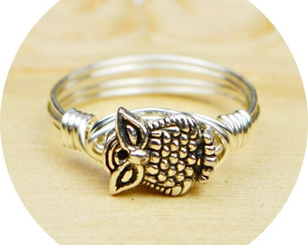 Owl Ring- Sterling Silver Filled Wire Wrapped Ring with Small Silver Tone Owl Bead - Any Size- Size 4, 5, 6, 7, 8, 9, 10, 11, 12, 13, 14
