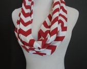 NEW Infinity Jersey Knit Arkansas Red/White Chevron Fashion Scarf  SUPER SOFT