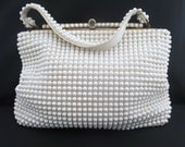 Vintage White Beaded Single Strap Handbag/Purse/Bag with Gold Tone Hardware by Grande's Beads
