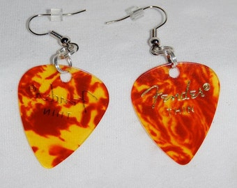 Tortoise Shell Guitar Pick Earrings Mixed Metals Handcrafted