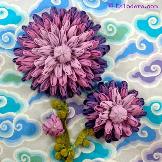 Dahlia Flower Pattern Kanzashi Flower Dinner Plate