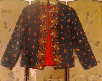 Handmade black and flowered quilt style jacket