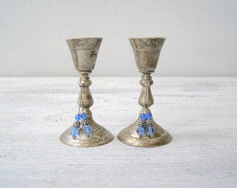 Silver Plated Small Candle sticks, Art deco , Retro Classic Tableware, Traditional Table decoration, Wedding gift, Hostess gift, mid centur