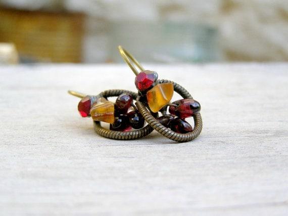 Boho gemstones Earrings, Vintage designer small earrings, Rhinestones, Gemstones, modern jewelry, Spring, Summer