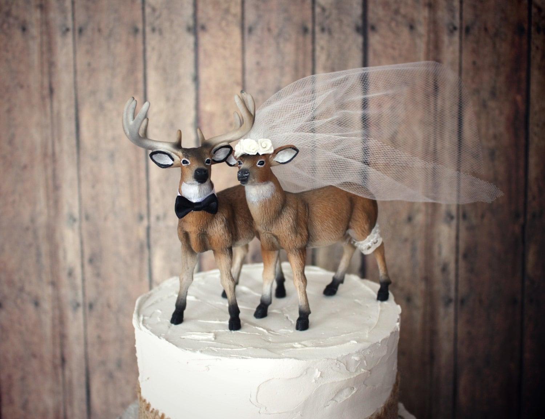 Ivory bride deer wedding cake topper bride and groom buck and