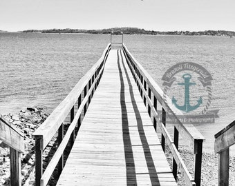 Quincy Pier The Landing Seascape BW Photography Boston At Checkout, Choose Lustre Print or Gallery Wrapped Canvas
