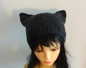 Cat Ears Hat Cat Beaie Chunky Knit Winter Accessories Animals Hat  cat ears hat graphite black